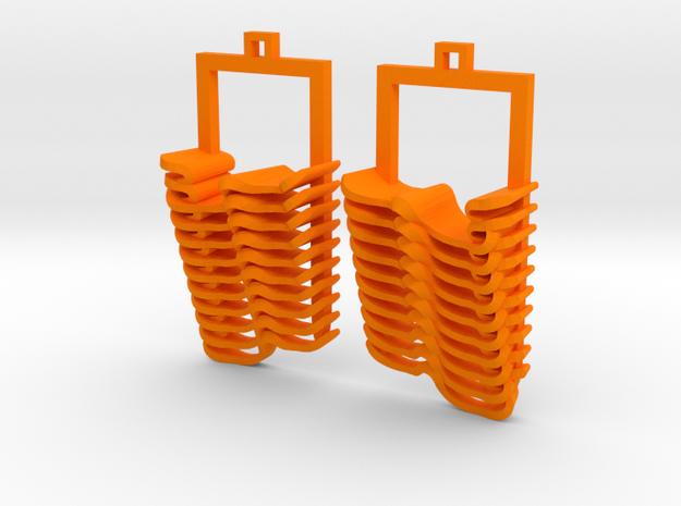 Book Waves Pair Earrings in Orange Processed Versatile Plastic