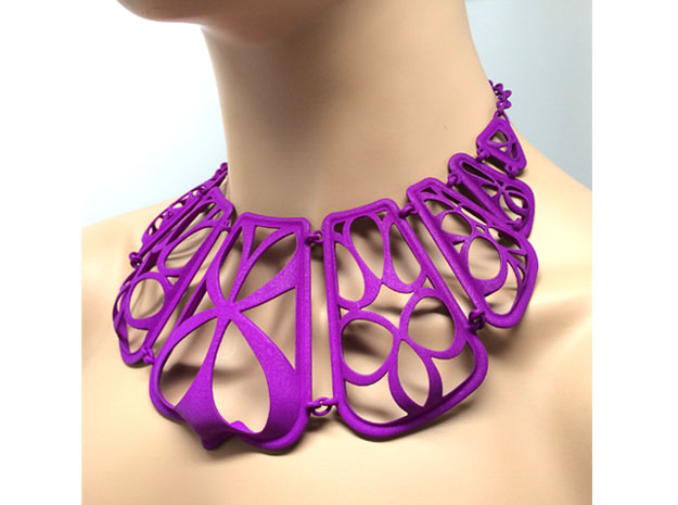 Flow Design Cleopatra Style Statement Necklace in Purple Processed Versatile Plastic