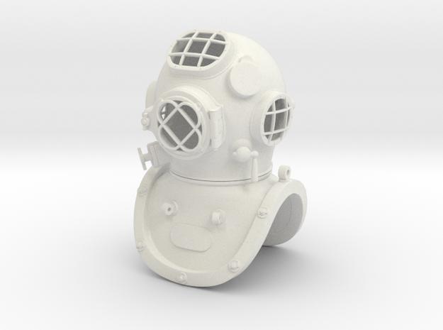 1:6 scale Diving Helmet in White Natural Versatile Plastic