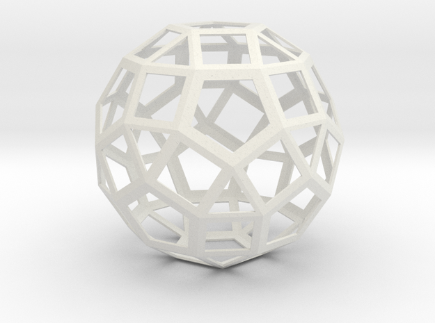 Lawal 167 mm v2 skeletal rhombicosidodecahedron in White Natural Versatile Plastic