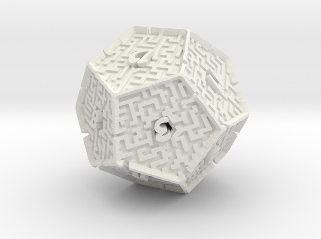 12 Sided Maze Die V2 in White Natural Versatile Plastic