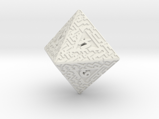 8 Sided Maze Die in White Natural Versatile Plastic