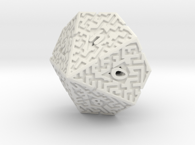10 Sided Maze Die in White Strong & Flexible