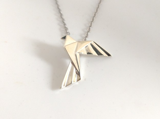 Origami Bird Pendant in Polished Silver