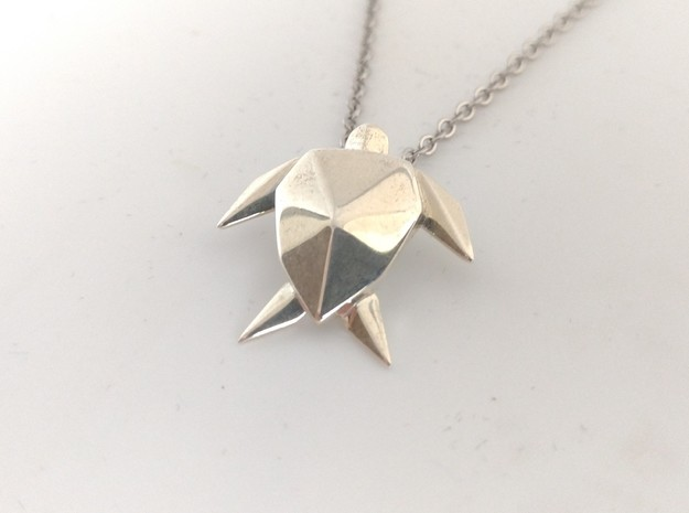 Origami Turtle  in Polished Silver