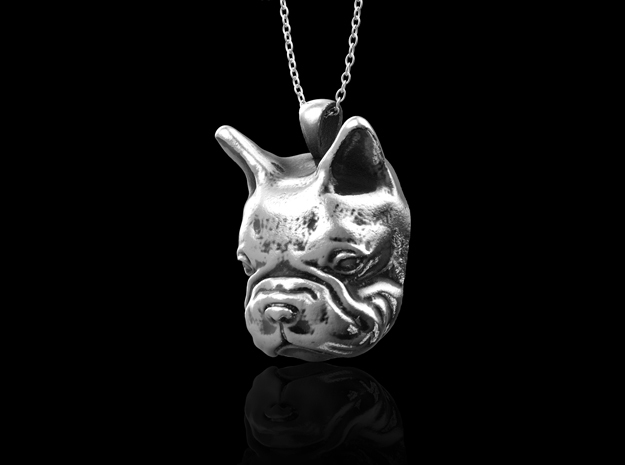 Sterling Silver French Bulldog Pendant in Antique Silver