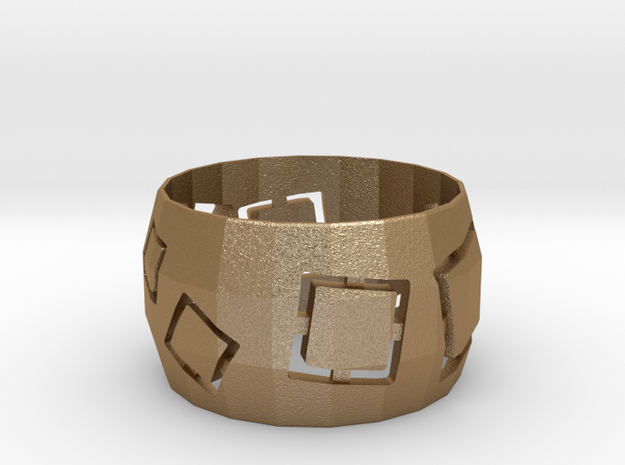 Squares Ring in Matte Gold Steel