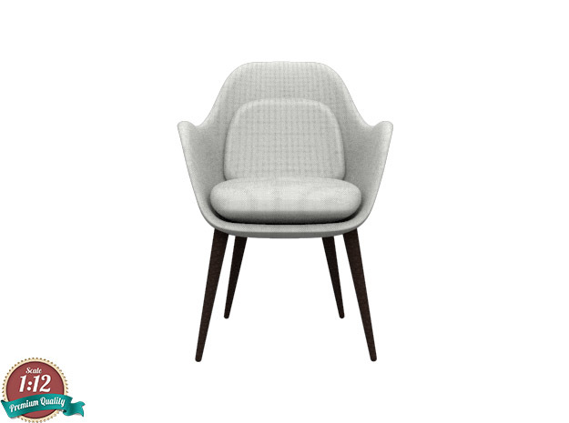 1:12 Miniature Swoon Chair Wood Base in White Natural Versatile Plastic