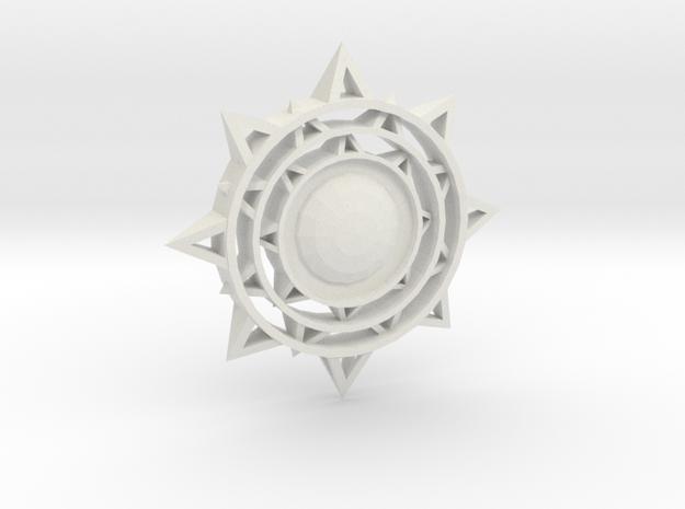 Sun Keychain in White Natural Versatile Plastic