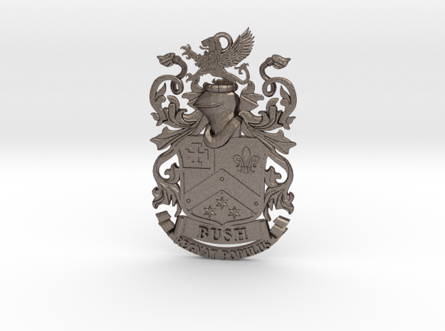 Bush Family Crest Pendant Heraldry Coat of Arms in Polished Bronzed-Silver Steel