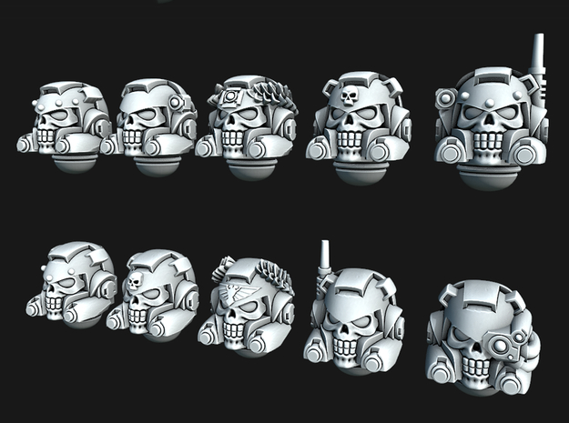 Chunky Marine Skull Helmets - Tactical Version in Smooth Fine Detail Plastic