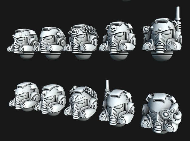 Chunky Marine Helmets - Tactical Version in Smooth Fine Detail Plastic