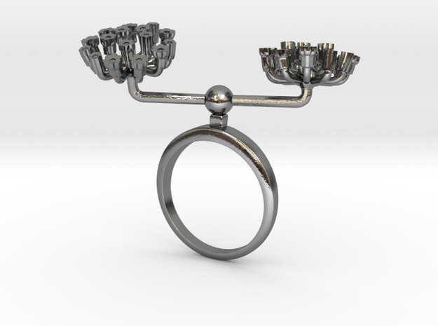 Fennel ring with two small flowers L in Polished Silver: 7.25 / 54.625