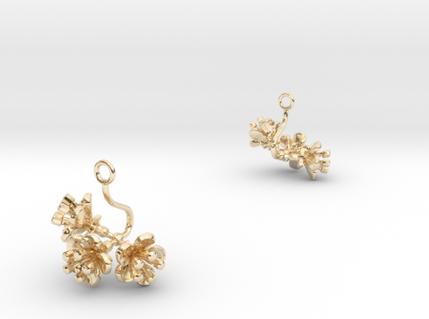 Cherry earring with three small flowers in 14k Gold Plated Brass