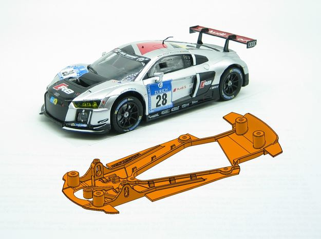 PSCA00202 Chassis for Carrera Audi R8 LMS GT3 in White Natural Versatile Plastic
