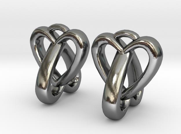 Interlocked Heart Earrings in Polished Silver