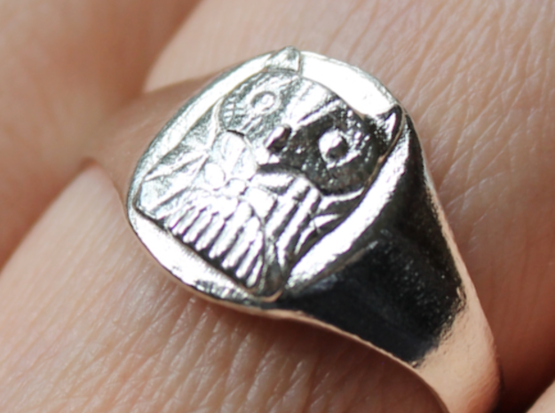 Owl Ring (Oval) in Natural Silver