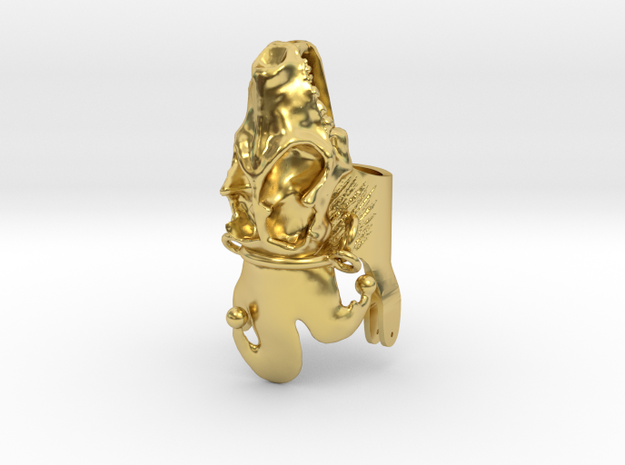 Harley Ring - Hyena Half (Attached Hat 1.0) in Polished Brass: 10.75 / 63.375