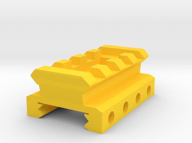 Nerf Rival Rail to Picatinny Rail Adapter (4 Slots in Yellow Processed Versatile Plastic