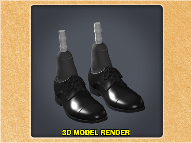 1:9 Scale Dress Shoes in White Natural Versatile Plastic