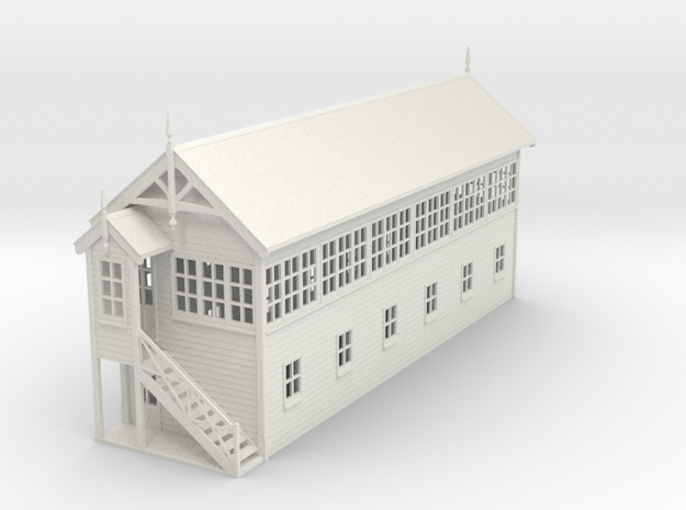 VR Signal Box #4 [Left Stairs] 1:76 Scale in White Natural Versatile Plastic