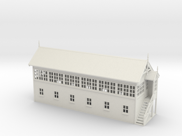VR Signal Box #4 [Right Stairs] 1:87 Scale in White Natural Versatile Plastic