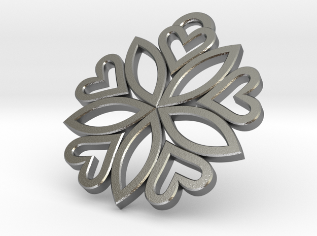 pendant 5 hearts (30mm) 3d printed