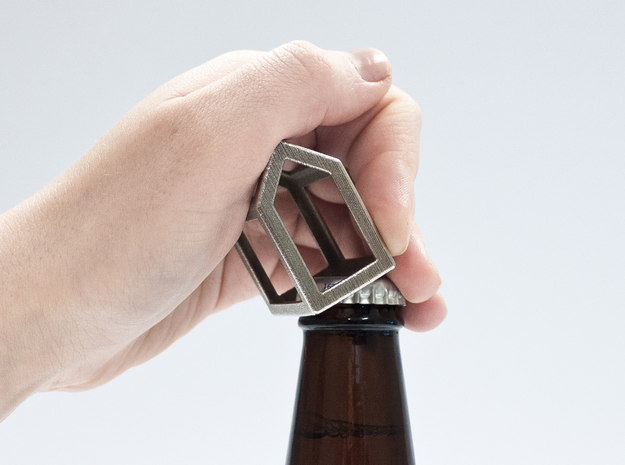 Open Huis Bottle opener in Polished Bronzed Silver Steel