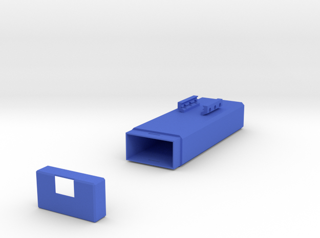Plain Battery Box (Horizontal Mount) in Blue Strong & Flexible Polished