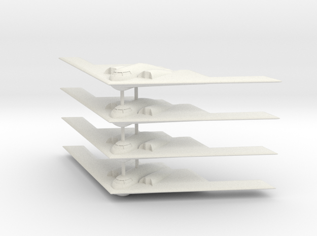 1/700 B-2 Spirit (No Landing Gear) (x4) in White Natural Versatile Plastic