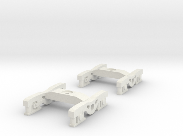 1 Pair of N Scale Standard Irish Railway Bogies in White Natural Versatile Plastic