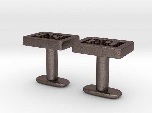 Braille cufflinks straight in Stainless Steel