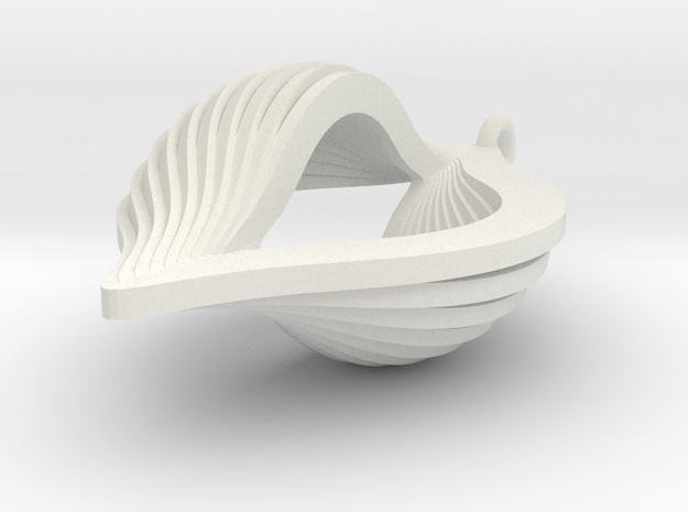 Shell Ornament in White Natural Versatile Plastic
