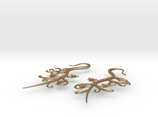 Tendril Earrings 3d printed Stainless - Closeup
