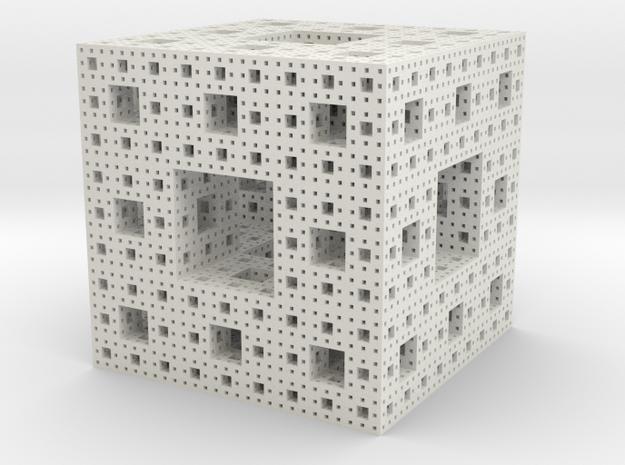 Menger sponge - 4 steps in White Natural Versatile Plastic