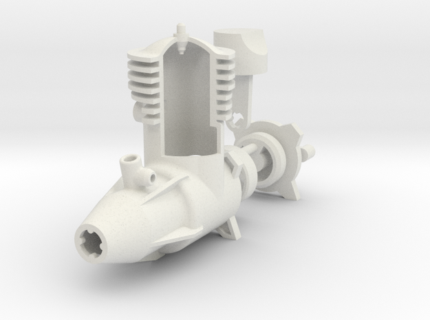 2 Cycle R/C Aircraft Engine in White Natural Versatile Plastic