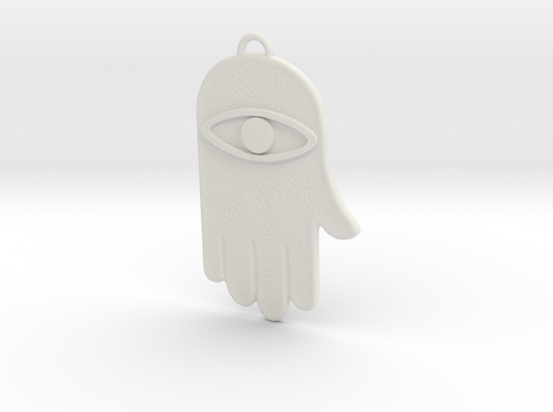 Hamsa Hand Pendant in White Strong & Flexible