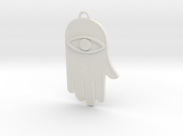 Hamsa Hand Pendant in White Natural Versatile Plastic