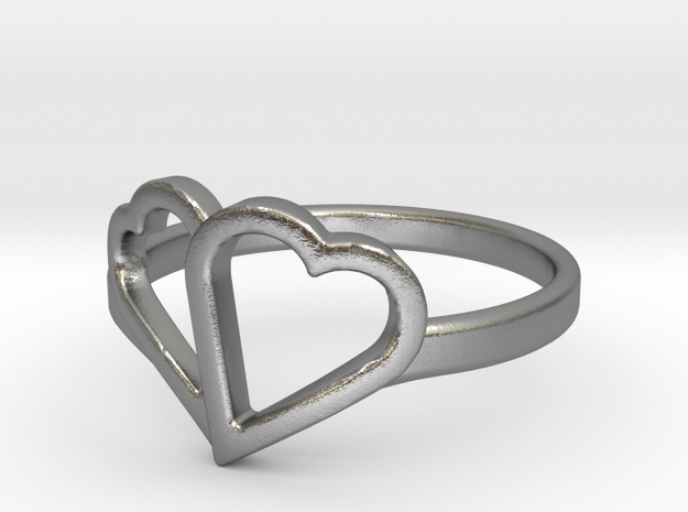 Overlapping Heart Ring 3d printed
