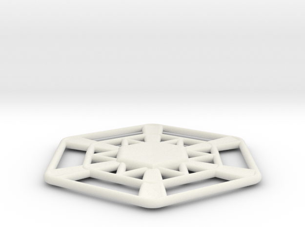 Snowflake in White Natural Versatile Plastic
