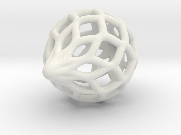 Heavier Netted Ornament in White Natural Versatile Plastic