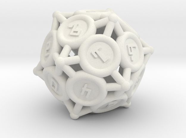 """D10 """"Spikes"""" in White Natural Versatile Plastic"""
