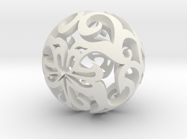 Curlicue ball 1 small in White Natural Versatile Plastic