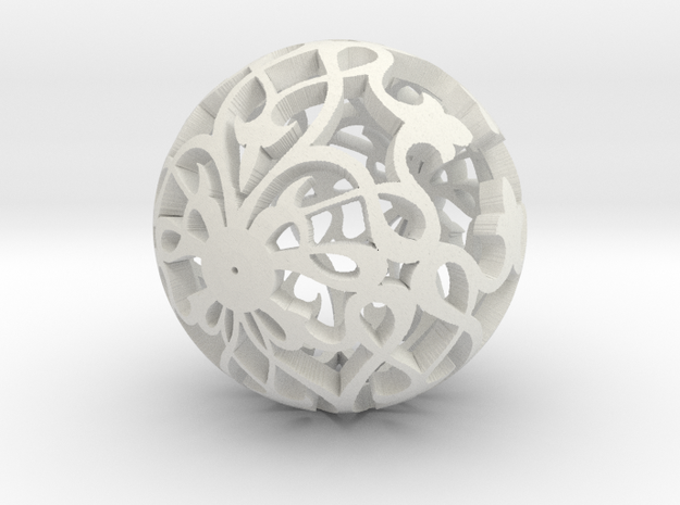 Moroccan Ball 7.2 in White Natural Versatile Plastic