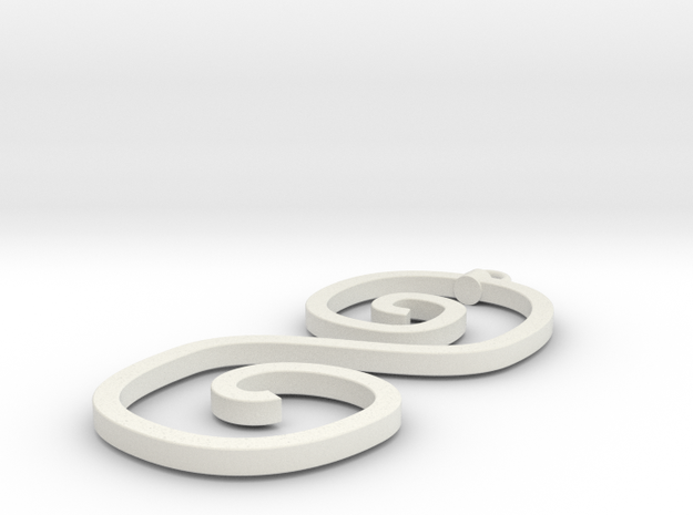 Curvy Pendant in White Natural Versatile Plastic