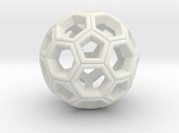 Soccer Ball Pendant in White Natural Versatile Plastic