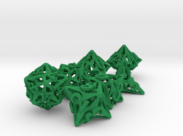 Pinwheel Dice Set with Decader 3d printed