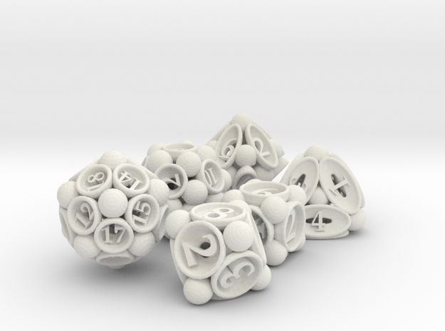Spore Dice Set 3d printed In stainless steel and inked.
