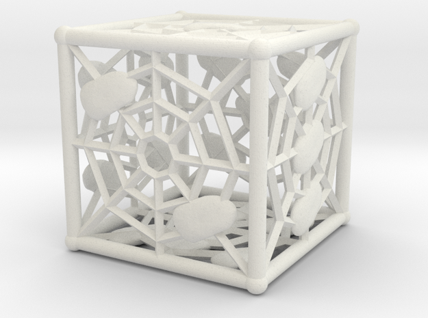 Webby die D6 (dice) in White Natural Versatile Plastic