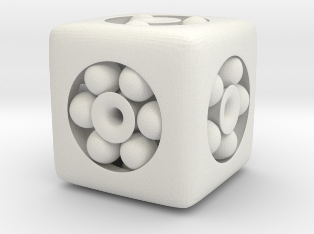 Ball Bearing 6-Sided Die in White Natural Versatile Plastic